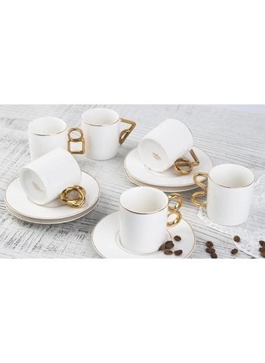 Acar Altın Kulplu 6'lı Kahve Fincan Takımı Renkli